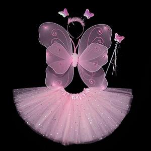 小女孩背的儿童仙女魔法棒奇妙仙子表演出服蝴蝶天使翅膀装饰道具