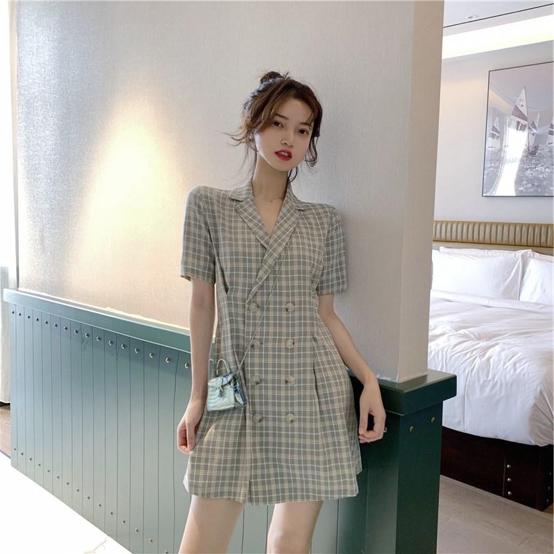 券后119.76元2019新款夏气质双排扣流行女连衣裙