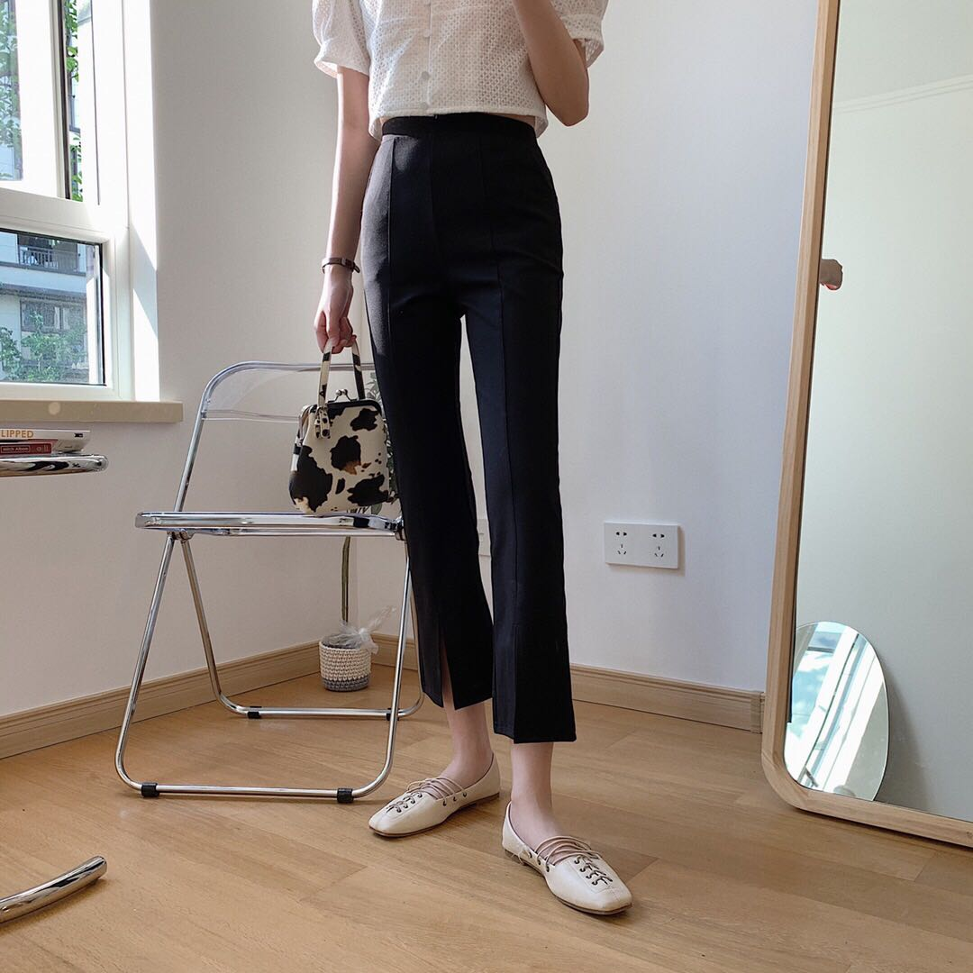 Seawhen womens wear Roman stretch thin high waist slit design flared pants casual pants for women