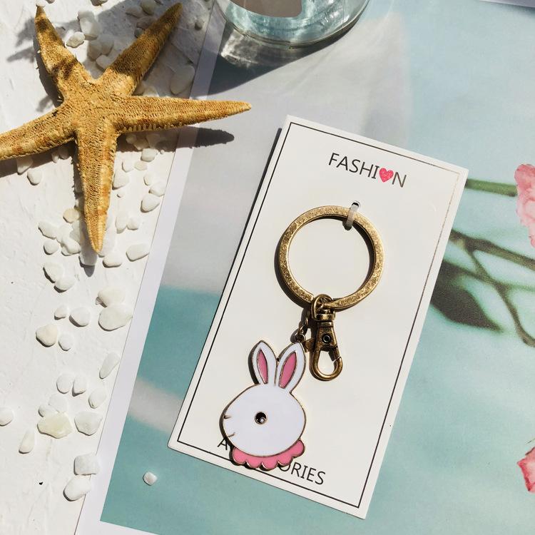 Ayw groceries cartoon kitten dog pet key ring black cat rabbit key pendant cat key ring