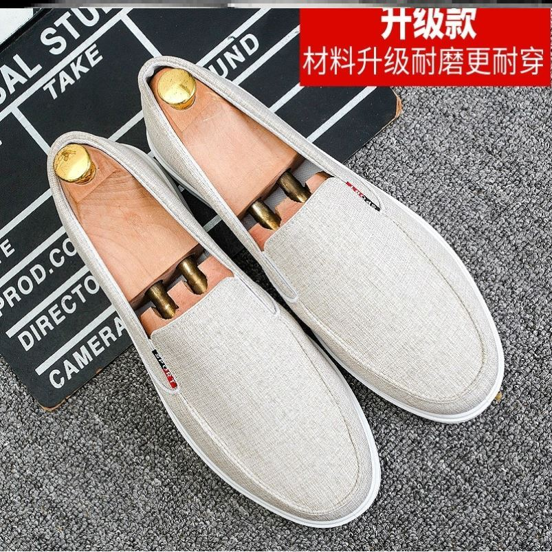 Mens canvas shoes Korean fashion casual shoes old peoples cloth shoes breathable driving shoes mens light one foot mens shoes