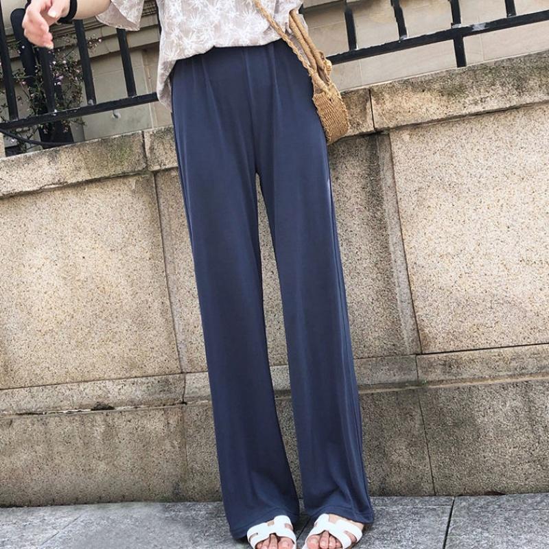 有赠品铜氨丝女夏宽松高腰直筒休闲阔腿裤