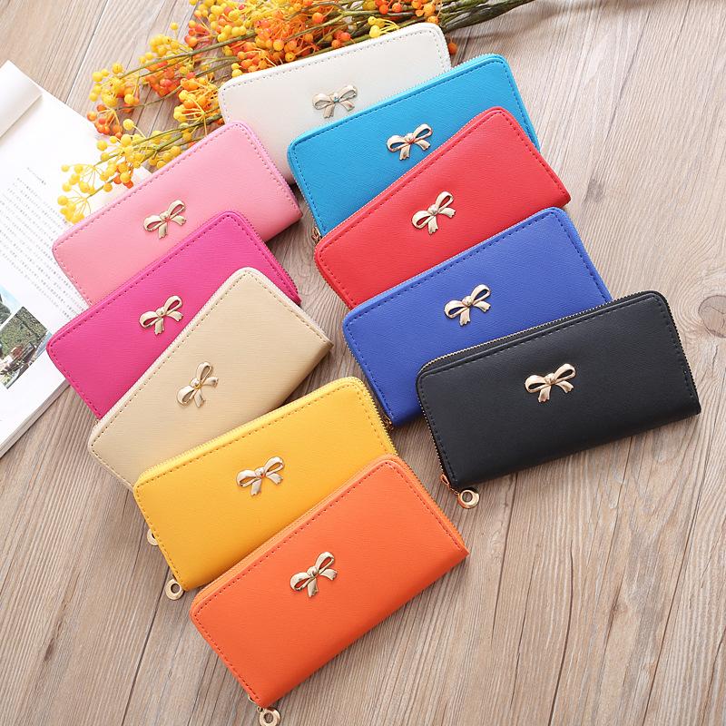 新款十字纹纯色女包 钱包 可爱蝴蝶手拿包多卡位零钱包