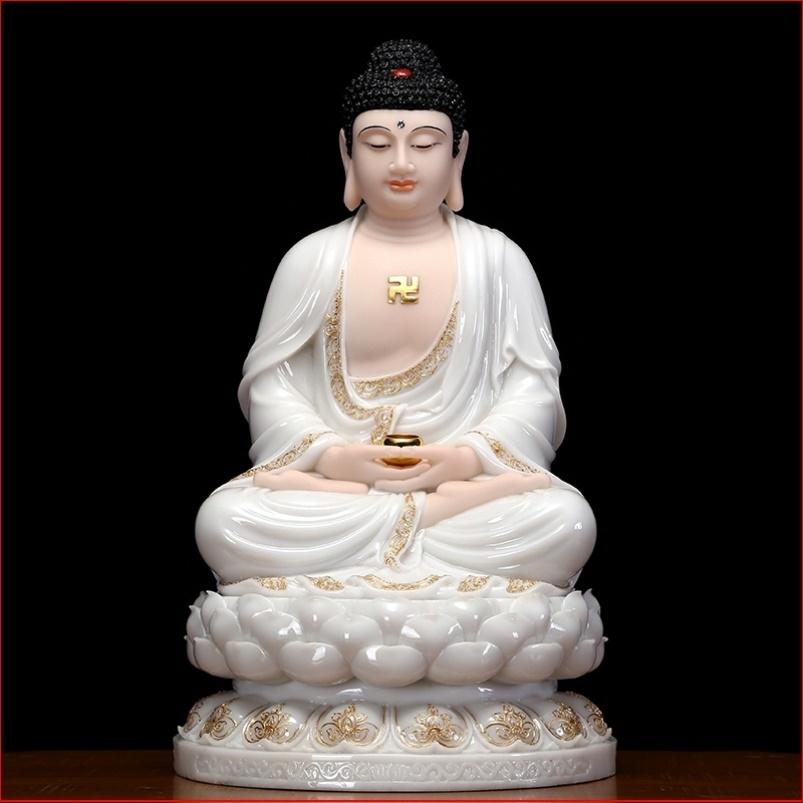 汉白玉释迦牟尼中式佛堂镀金居家三宝佛像摩尼禅意阿弥陀佛如来佛