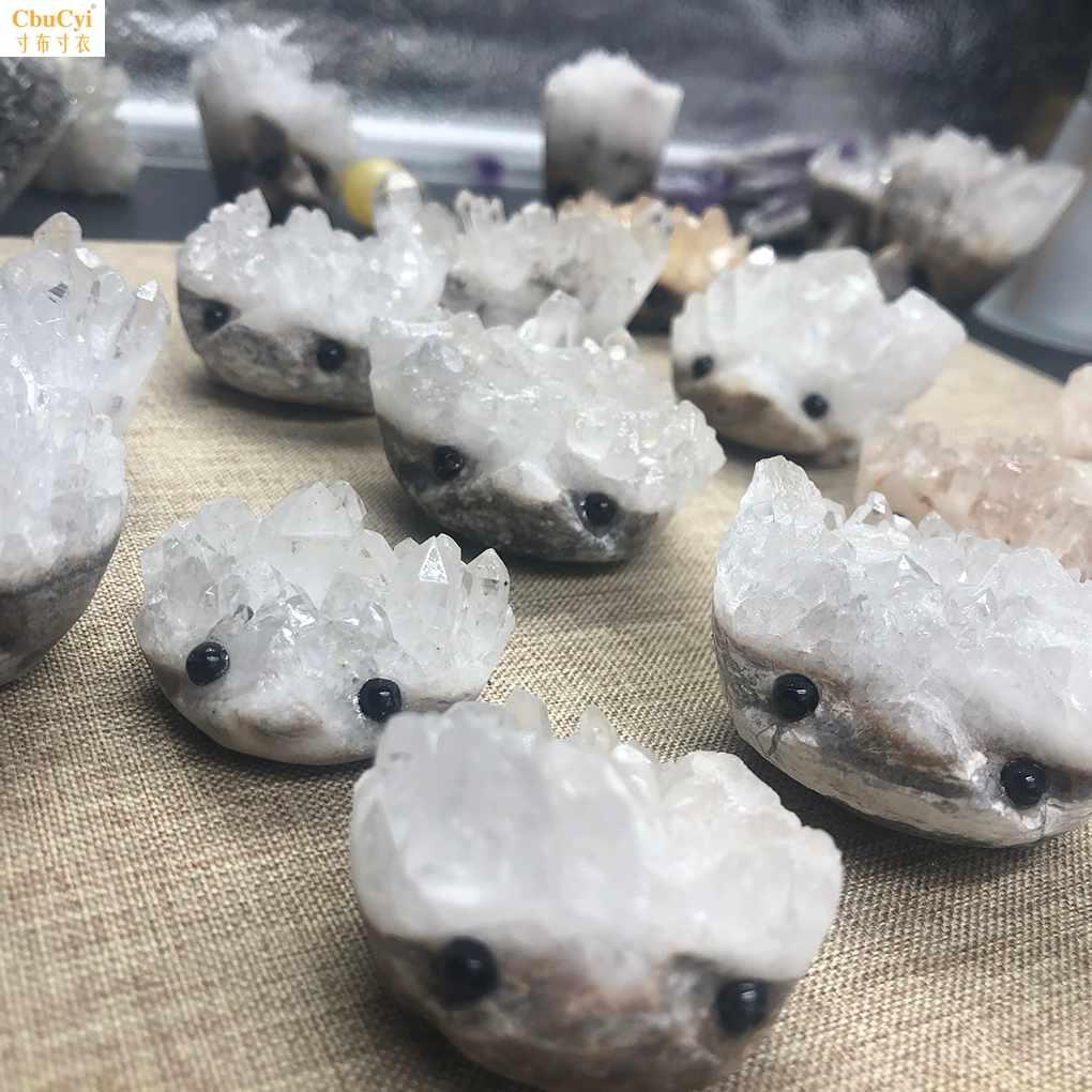 白水晶簇小刺猬居家小摆件招财进宝萌萌小宠物学习助力能量守恒