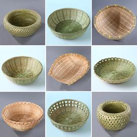 竹编果篮手工干果盘零食厨房沥水篮子馒头筐水果盘田园风竹编制品图片