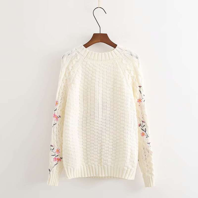 Autumn new thick wool embroidery solid color loose Korean long sleeve knitting Pullover Sweater womens round neck top womens fashion