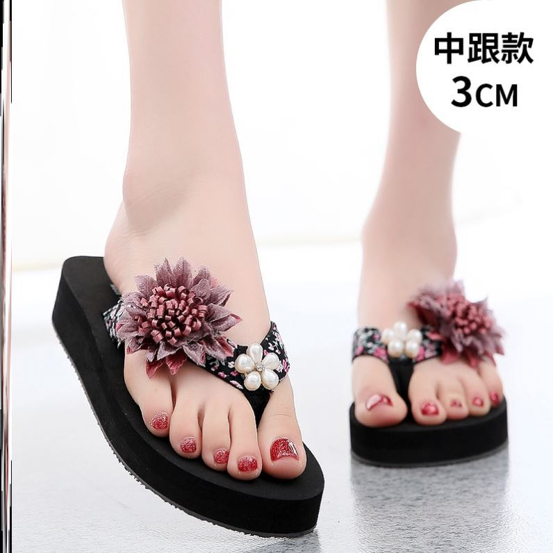 Womens thickened beach slippers womens Beach Summer slope heel casual shoes high heel toe clip shoes flower beach shoes fashion