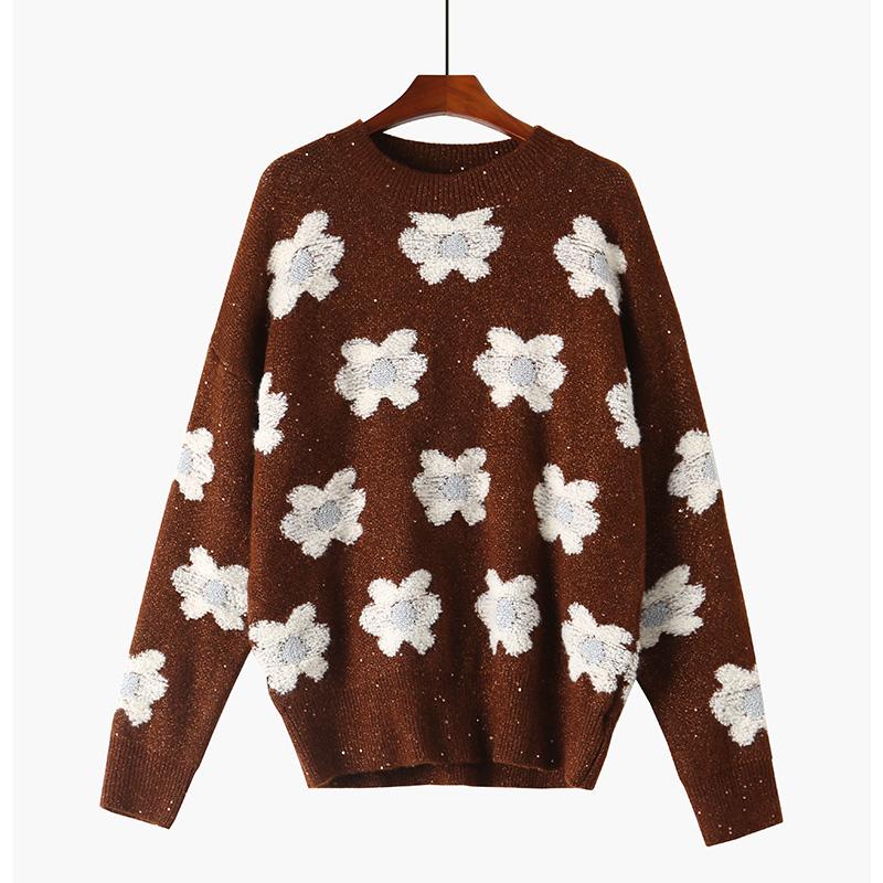 伊芙丽微微2021秋季新款设计感慵懒亮片花朵针织毛衣女1C8933291