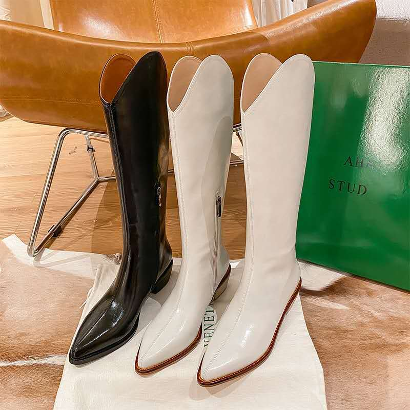 Womens pointed Martin boots autumn and winter 2020 new fashion Japanese thick heel flat bottomed Knight boots