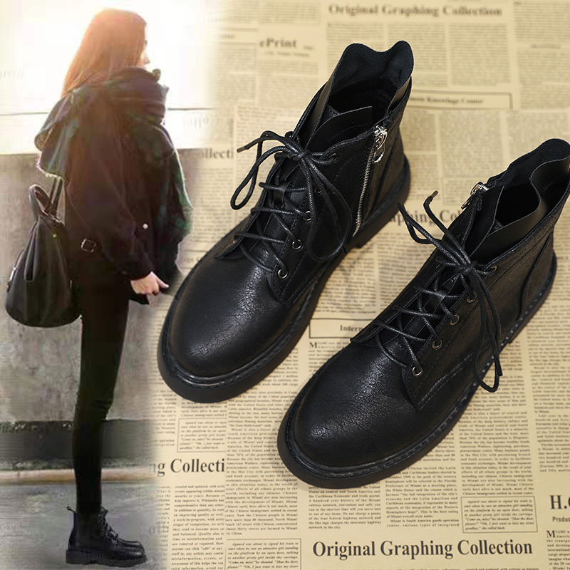 British style Martin boots womens new spring and autumn 2020 students versatile black lace up single shoes flat bottom womens short boots single boots