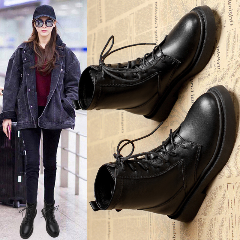 British style Martin boots autumn and winter 2020 new flat bottom black versatile locomotive boots handsome lace up 8-hole womens Boots