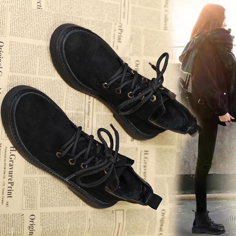 马丁靴女英伦风2020秋季黑色百搭平底瘦瘦靴短筒靴绒面短靴女单靴
