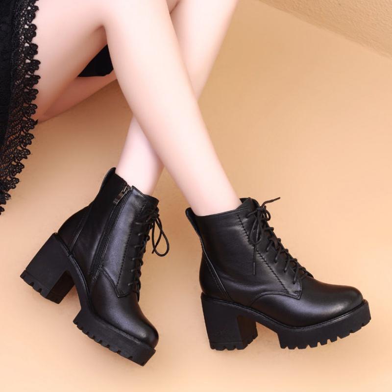 马丁靴女英伦风2020秋冬季新款高跟韩版百搭粗跟短靴子加绒雪地靴