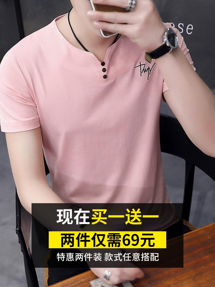 2件莫代尔男士短袖夏季潮牌t恤(非品牌)