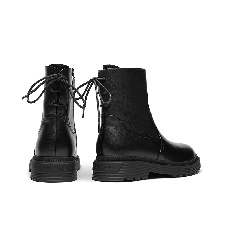 Red Dragonfly womens shoes 2020 winter new leather leisure Womens boots round head flat heel lace up daily high top womens Boots