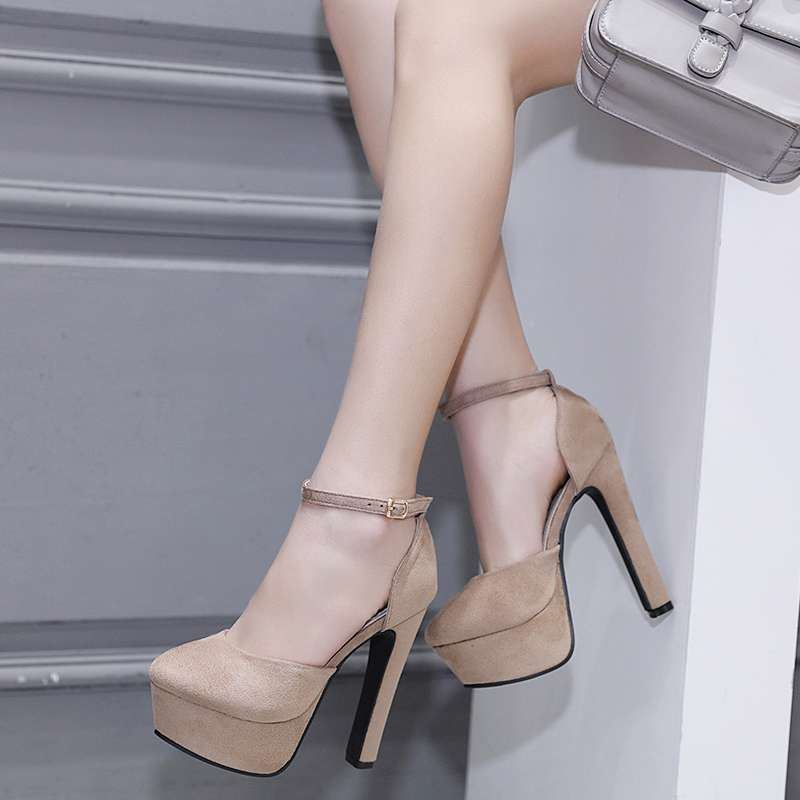 12cm thick heel nude suede wrap waterproof platform 13cm super high heels show hate Tiangao small size womens sandals