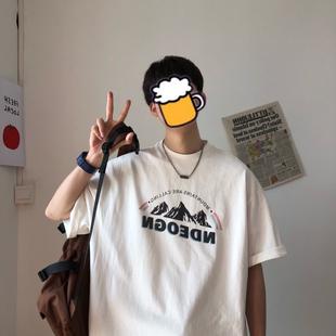 @港仔文藝男 T恤男夏季新款韓版ins潮流寬鬆印花港風百搭情侶短袖