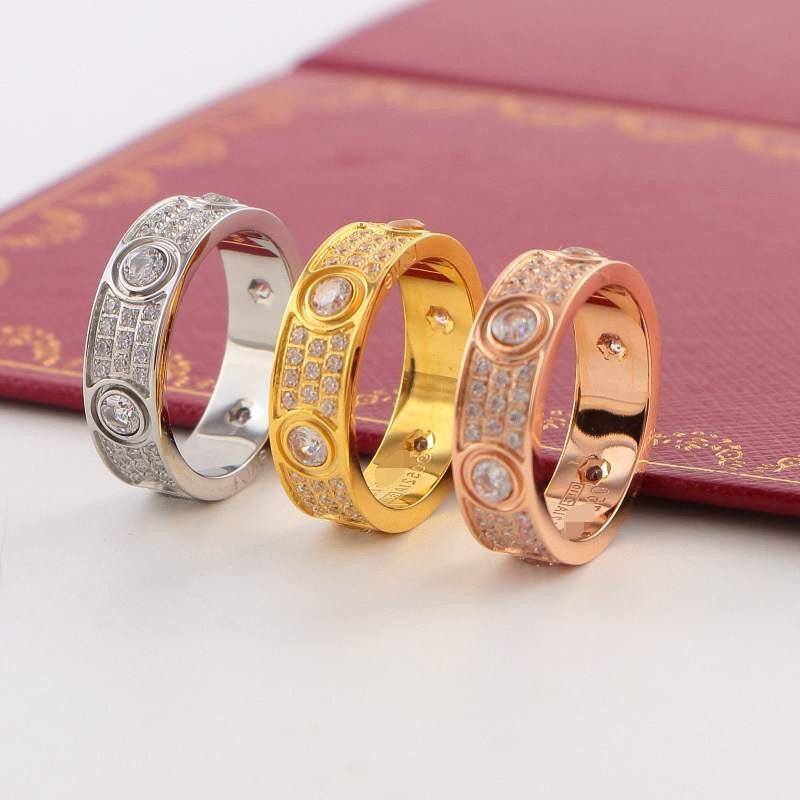 New forever ring full diamond ring 19 colorful gold lovers ring three diamond ring wide version 6