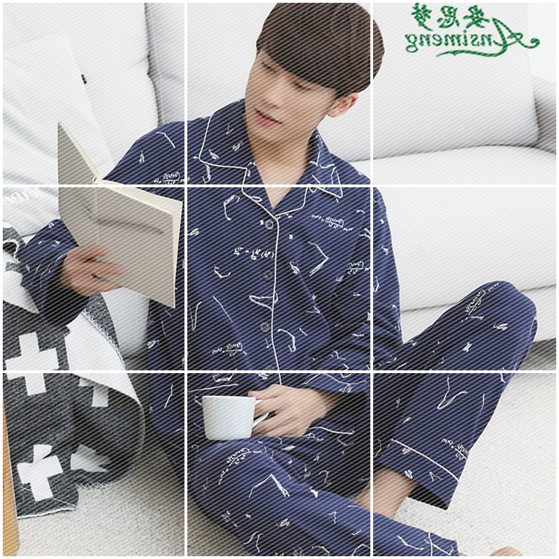 Spring and autumn pajamas mens cotton long sleeve autumn and winter cotton thin mens oversized home wear suit for men