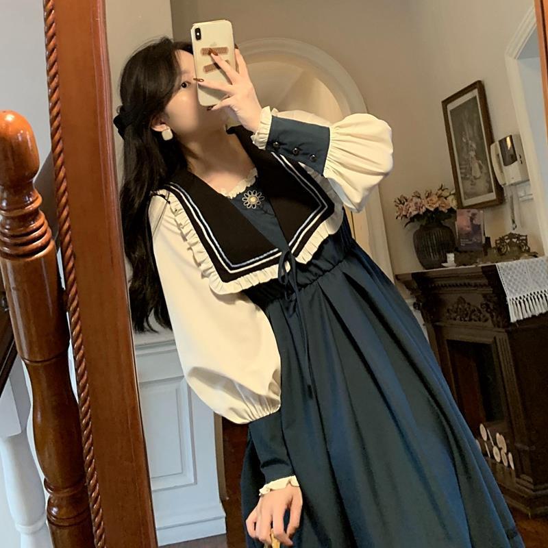 洛丽塔蓝色少女娃娃领连衣裙女遮肚高腰复古炸街长裙气质仙女裙