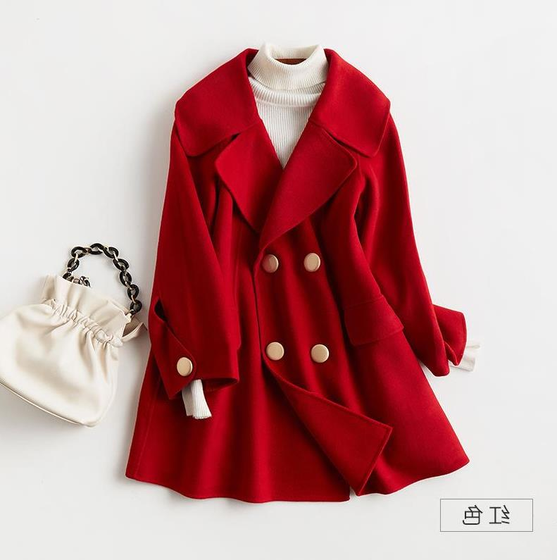 Casual and versatile metal button double-sided cashmere coat womens fall / winter 2020 new woolen coat top