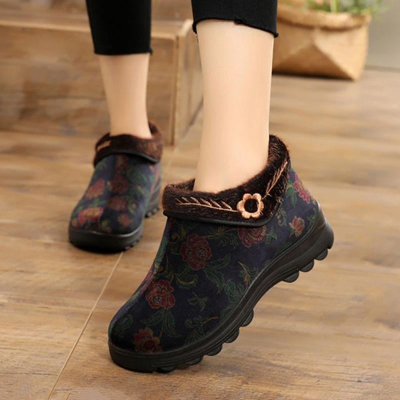 Winter high top light cotton shoes for middle-aged and elderly women with plush anti-skid thick soled cotton boots red pattern mothers shoes keep warm