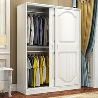 欧式衣柜实木简约现代经济型组装简易衣橱推拉门卧室2门儿童衣柜