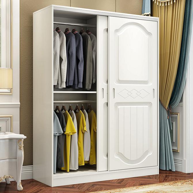 衣柜实木简约现代经济型组装 简易衣橱推拉门卧室2门儿童衣柜 欧式