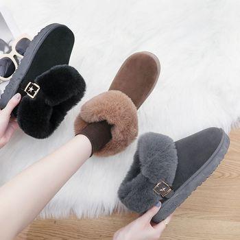冬韩版百搭女鞋加绒雪地靴保暖短筒靴