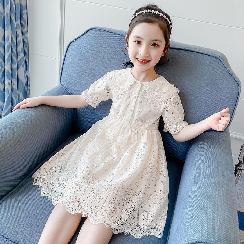 女童连衣裙2020新款夏装网红女孩童装蕾丝裙子夏季洋气儿童公主裙