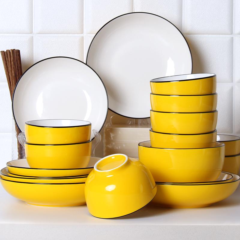怀瑾 陶瓷餐具套装 4人家用美式小吃饭碗面碗盘子耐高温碗盘碗碟