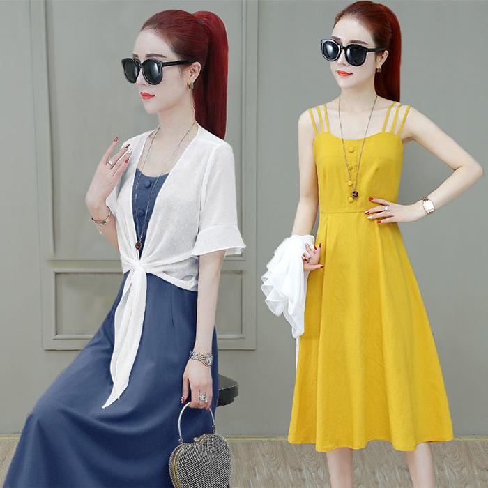 Dress womens summer dress 2021 new Korean womens dress sling skirt fashionable foreign style small fragrance Cape two piece set