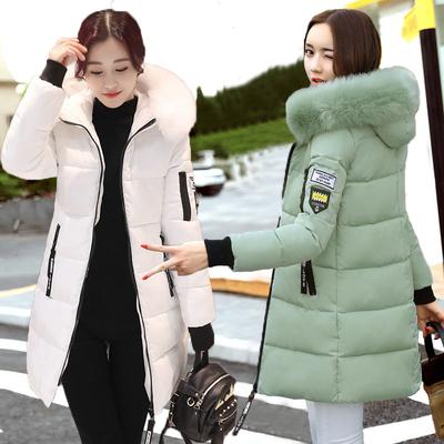 简约显瘦羽绒棉服女加厚女装秋冬新款中长款棉衣女士修身棉袄外套