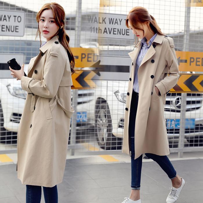 Windbreaker womens 2021 spring and Autumn New Womens fashion medium length coat slim and versatile top Korean womens clothes