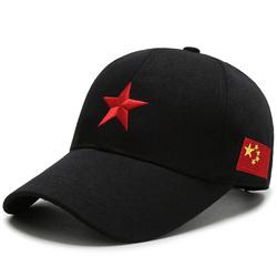 防晒帽子男红军帽女五角星中国五星红旗军帽潮牌鸭舌帽百搭棒球帽