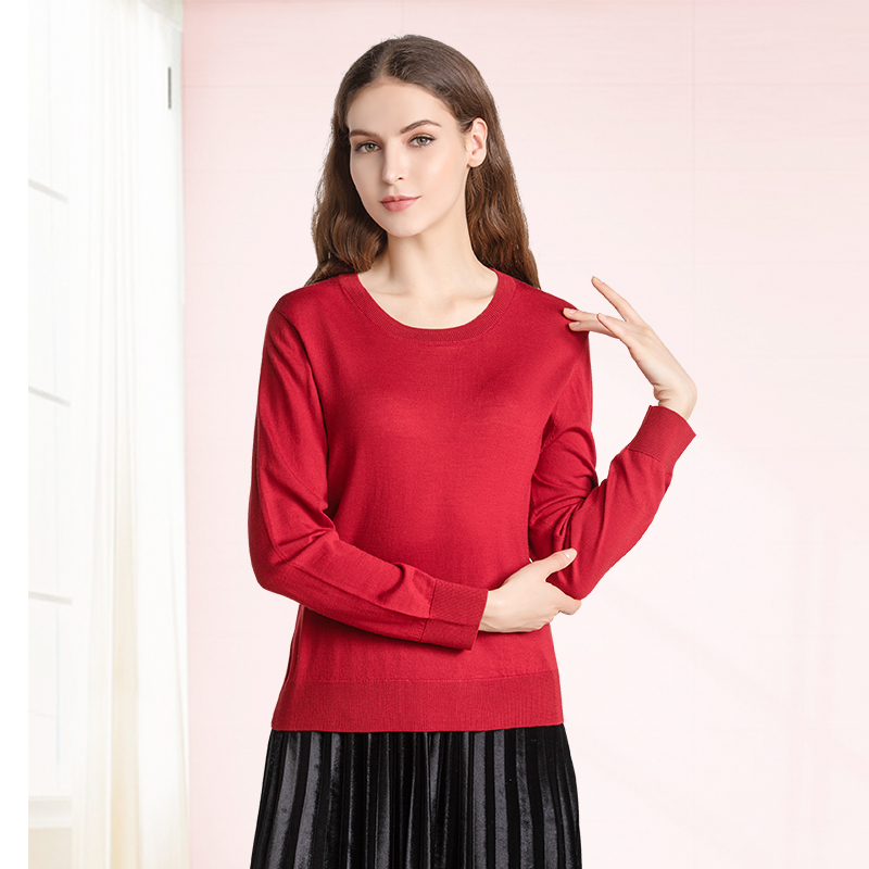 Womens sweater wide loose wool sweater autumn and winter Italian soft wool line big round neck new thin long sleeve