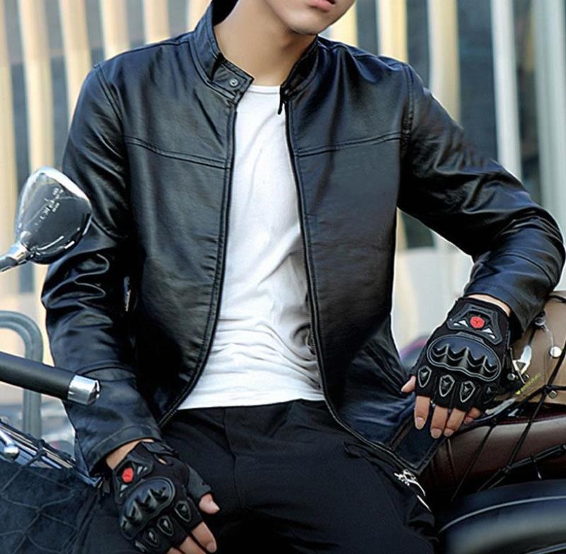 Motorcycle motorcycle riding suit leather jacket leather suit mens leather pants suit mens work suit slim fitting Plush