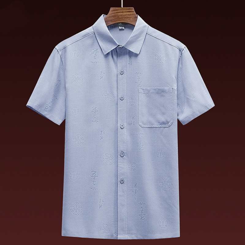 Middle aged and old peoples linen short sleeve shirt mens summer thin cotton linen loose Lapel top