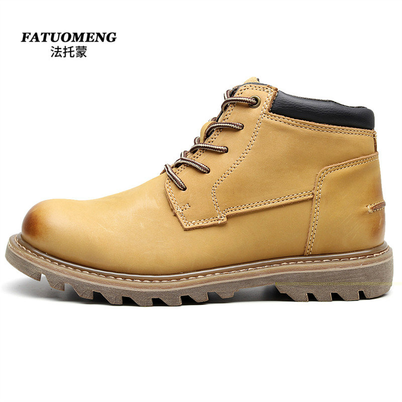 Martin boots work clothes shoes leather medium high top short boots casual shoes outdoor 721555 mens shoes rhubarb boots