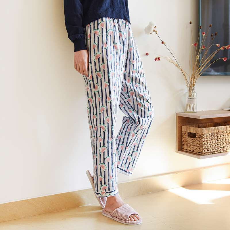 Spring and summer thin womens cotton pajamas woven cotton pants air conditioning pants large size home pajamas moon pants