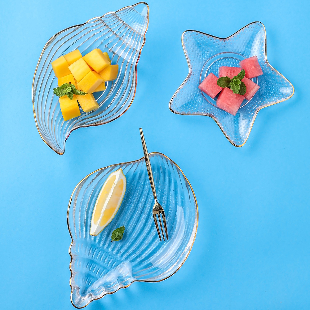 乐章 地中海洋鱼玻璃餐盘鱼盘水果盘子水果沙拉碗创意餐具海星螺,可领取3元天猫优惠券