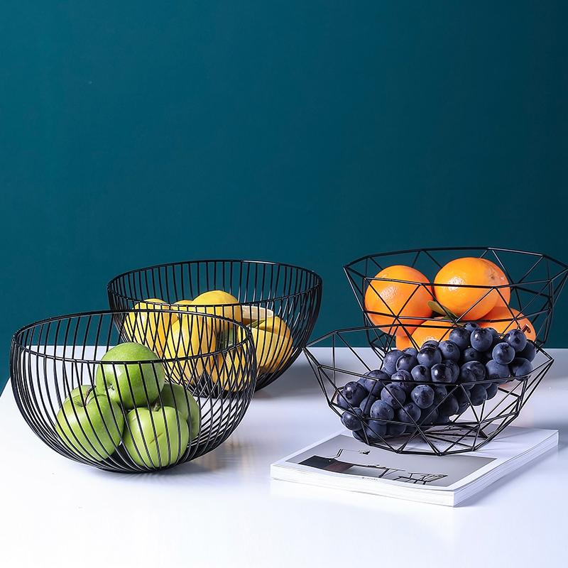 乐章北欧简约铁艺水果篮客厅水果盘家用创意黑色收纳篮果盆零食盘,可领取3元天猫优惠券