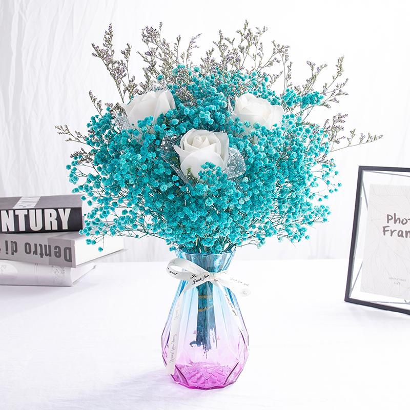 满天星客厅摆设永生花家居带花束
