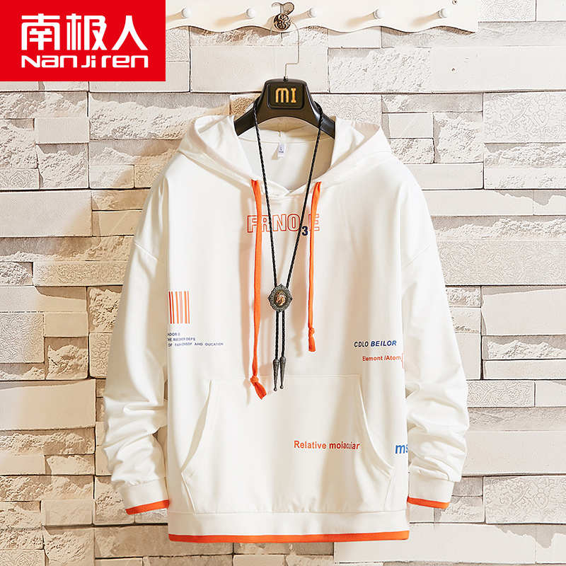 Mens fashion sweater: spring and autumn hooded loose round collar fashion mens autumn and winter bottomed shirt, handsome top fashion.