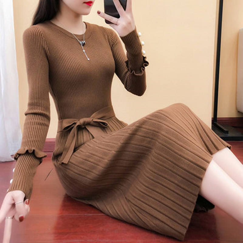 Spring 2020 new womens long knitted dress long sleeve wool dress autumn winter bottomed wool skirt