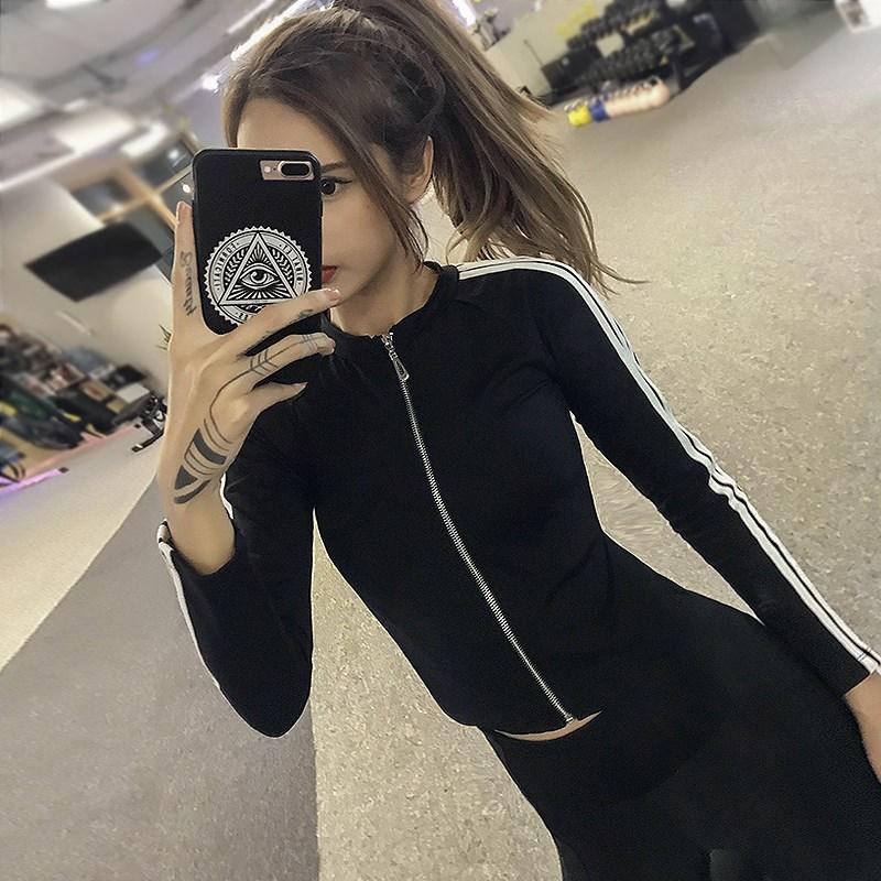 Womens sexy short zipper running long sleeve net red Yoga tights