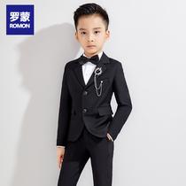罗蒙儿童西装套装帅气男童花童礼服钢琴演出服中大童小男孩西服夏