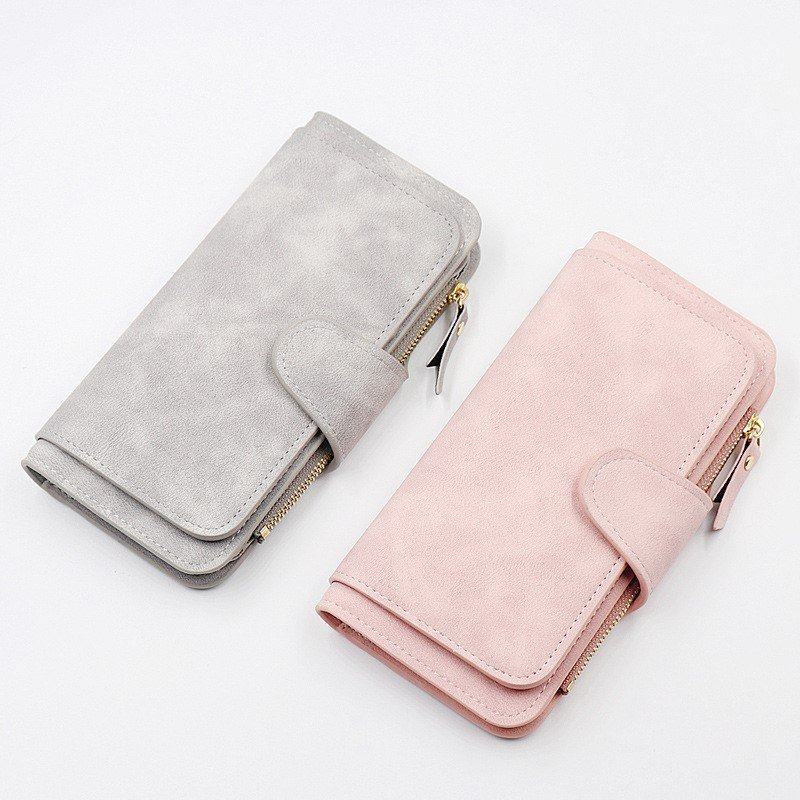 Zipper fashion fabric long buckle large three fold multi Card Wallet NEW WALLET hand bag two color lady