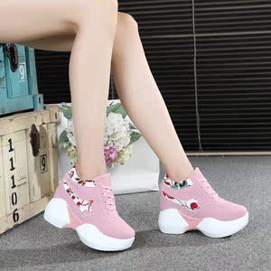 春秋新款鞋黑色休闲鞋女款内厚底女鞋10cm运动女士坡跟鞋子【